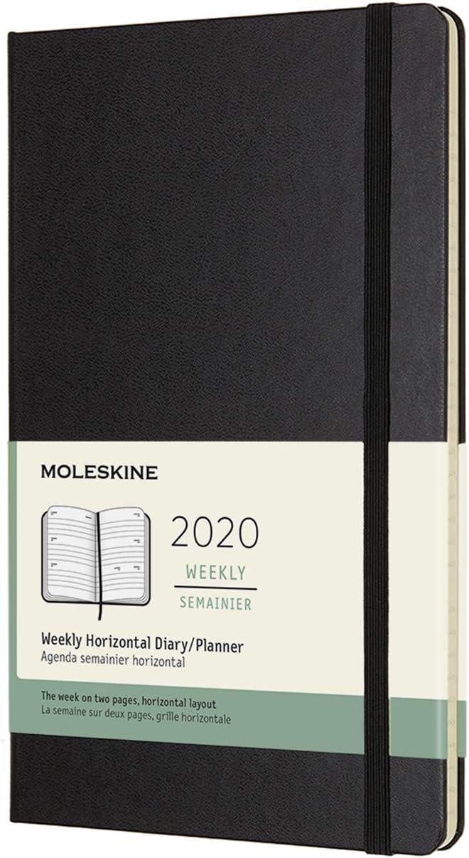 Agenda,12 meses 2020, tapa dura, grande (5 x 8.25) negro