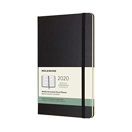 Moleskine - Agenda Semanal Horizontal de 12 Meses 2020, Tapa Dura y Goma Elástica, Tamaño Grande 13 x 21 cm, 144 Páginas, Negro