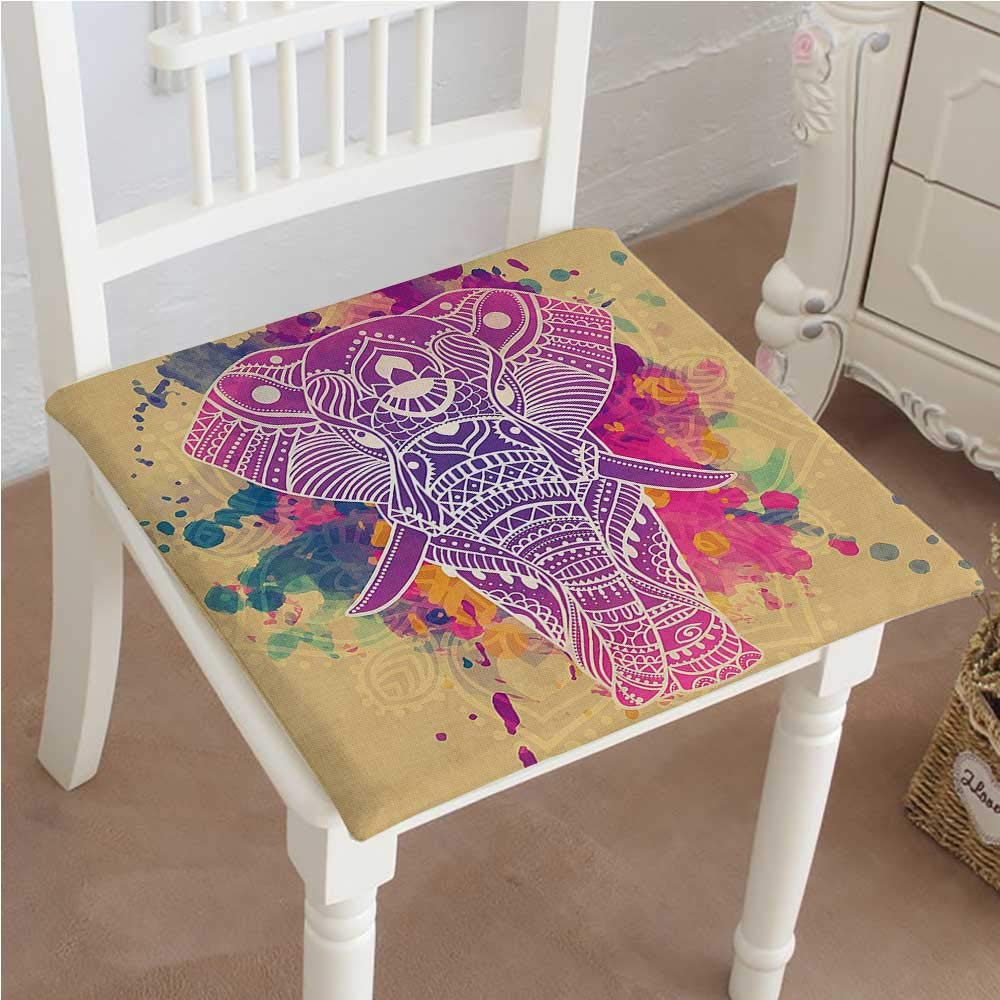 Mikihome Outdoor Chair Cushion Style Effect Theme an Ornamented Fuchsia and Sand Brown Comfortable, Indoor, Dining Living Room, Kitchen, Office, Den, Washable 22''x22''x2pcs by Mikihome