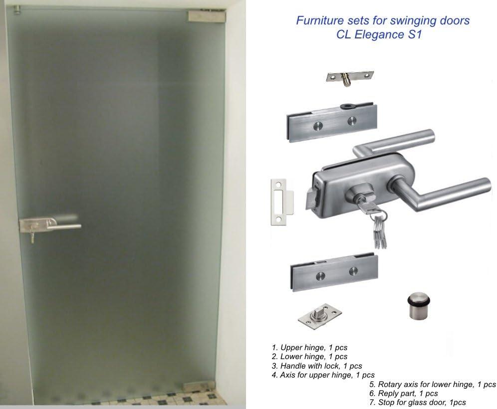 Un conjunto de accesorios para puertas batientes de vidrio - CLElegance S1. Bisagras, Manija con cerradura, Eje para bisagras superior e inferior, Parte de respuesta, Tope: Amazon.es: Bricolaje y herramientas
