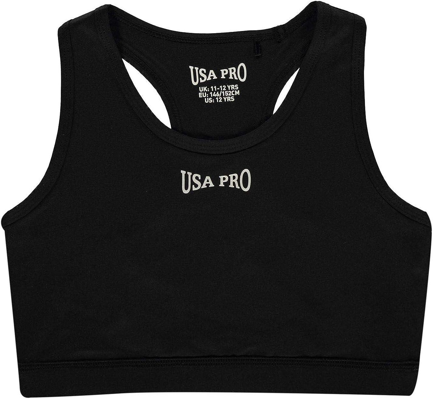 USA Pro Kinder M/ädchen Fitness Crop Top Rundhals Racerback
