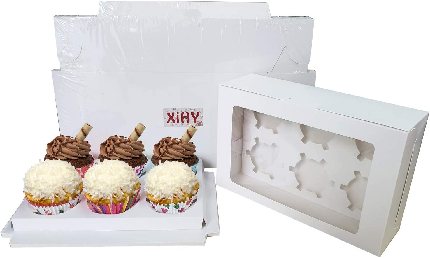 20-Set Cupcake Boxes Hold 6 Cupcakes,White Cupcake Containers Cake Boxes Carrier with Inserts and Window 9.3