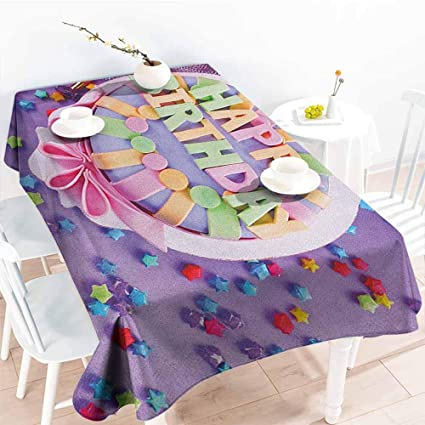 Willsd Resistant Table CoverBirthday Delicious Birthday Cake On A With Stars And Presents
