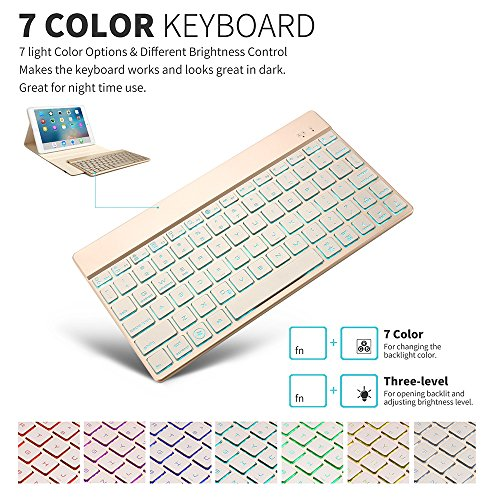iPad Air Keyboard Cover, KVAGO Stylish Protective Case Stand Smart Cover  with Detachable 7 Colors Back-lit Wireless Bluetooth Keyboard for Apple  iPad