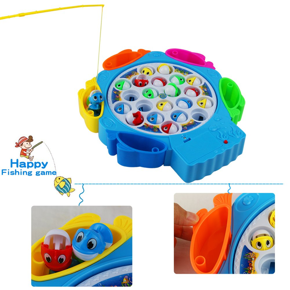 Fishing Game Toy, Electronic Rotating Music Colorful Fish Board Educational Training for Children Kids Toddles Boys Girls