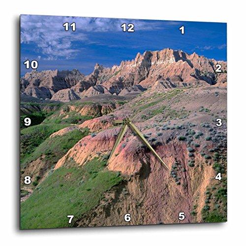 3dRose Danita Delimont - Mountains - South Dakota, Badlands NP, Pinnacles rise above near Dillon Pass. - 15x15 Wall Clock (dpp_279426_3)