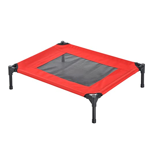 pawhut elevated pet bed portable camping raised dog bed w metal frame black and red
