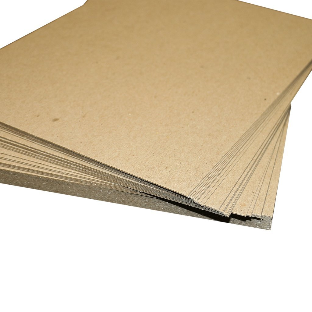 Pack of 500 8.5x11 Brown Chipboard Pads 22PT .022'' Medium Weight Scrapbooking Sheets 8.5'' x 11''