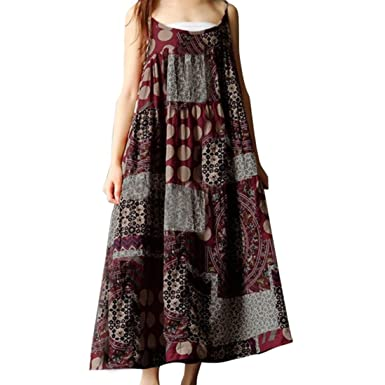 00ac1407c8e Jushye Hot Sale!!! Women Dress, Ladies Summer Sleeveless Linen Strappy  Loose Bohe