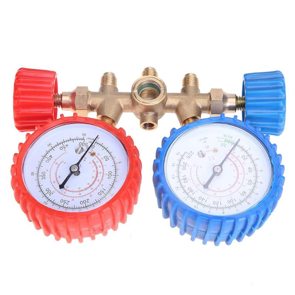 Festnight R134A R12 R22 R502 Medidor de divisor de corriente Conjunto de herramientas Refrigerantes Aire acondicionado CA Manifold de diagn/óstico Manguera de mesa doble con 3 colores