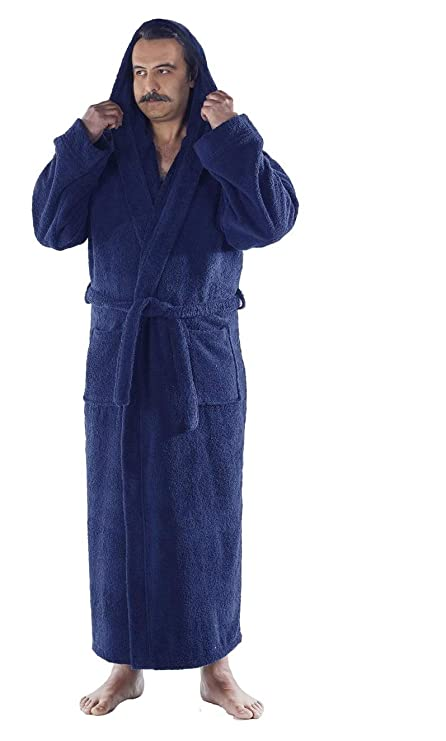 Arvec Men's Combed Turkish Cotton Terry Full Ankle Length Hooded Bathrobe (Small/Medium, Navy Blue)