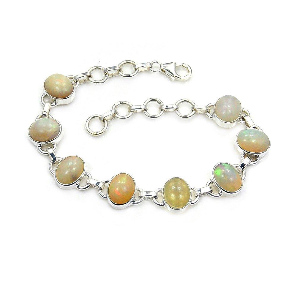 Sterling Silver Rare Natural Ethiopian Opal Bracelet, Adjustable 6.75''-7.75''