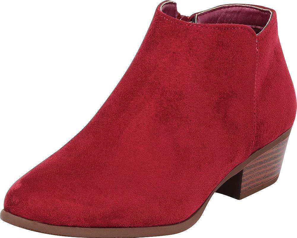 Wine Imsu Cambridge Select Women's Classic Western Chunky Stacked Low Heel Ankle Bootie
