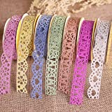 Goodlucky365 7 Rolls Multicolor Washi Lace Pattern Glitter Self-adhesive Tape Masking DIY Scrapbooking Decorating Stickers