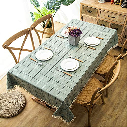 Marstree Polyester Waterproof Lattice Tassel Geometric Square/Rectangular Tablecloth Coffee Table Tablecloth (Green, 24'' x 24'')