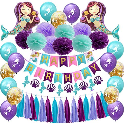 Mermaid Birthday Party Decorations Supplies - Happy Birthday Mermaid Banner, Giant Mermaid Balloon,Pom Pom Paper Flowers, Latex Confetti Balloons For Girl's Birthday Party for $<!--$18.99-->