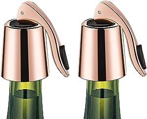 ERHIRY Wine Bottle Stopper Stainless Steel, Wine Bottle Plug with Silicone, Expanding Beverage Bottle Stopper, Reusable Wine Saver, Bottle Sealer Keeps Wine Fresh, Best Gift Accessories, Rose Gold…