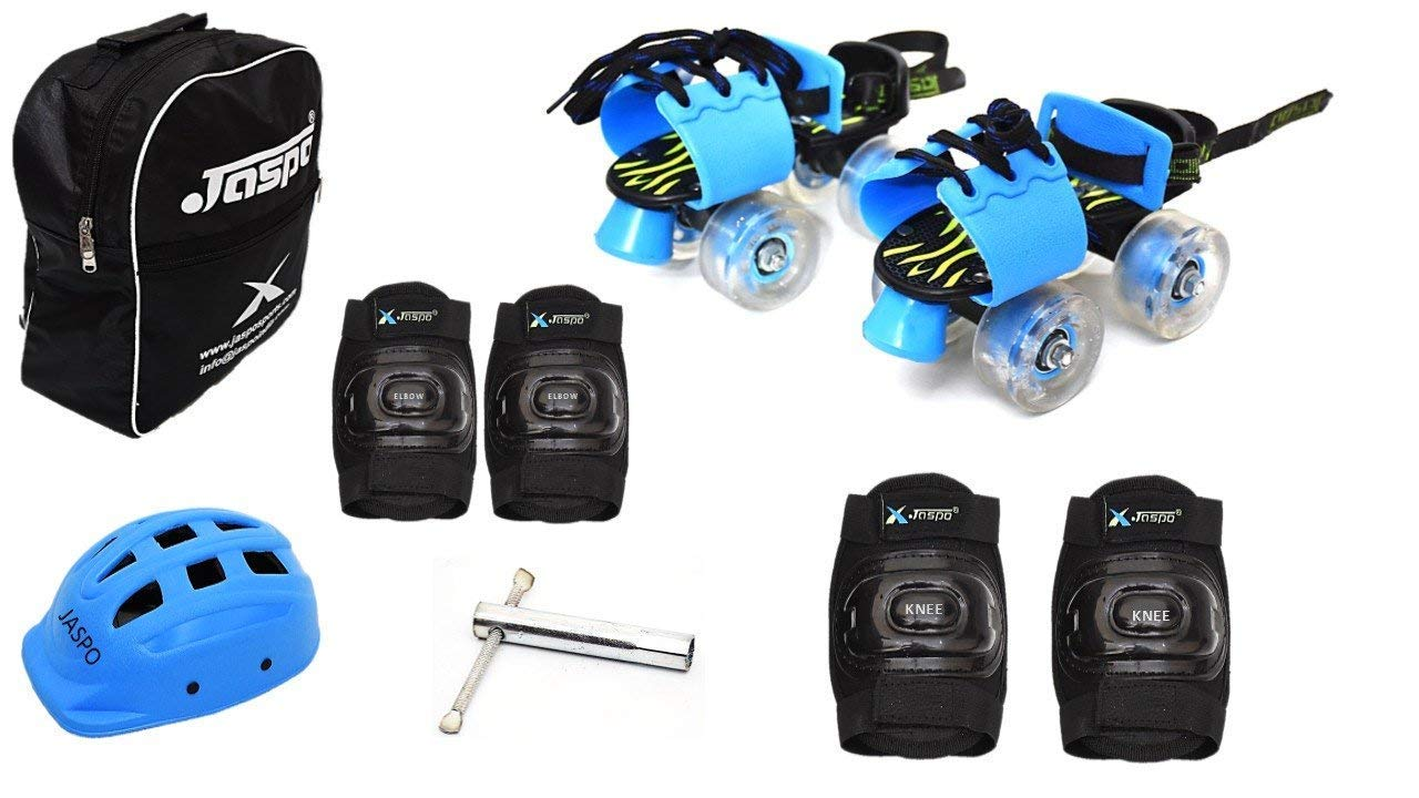Jaspo Kinder Ride Intact Junior Adjustable Roller Skates Combo Suitable for Age Group Upto 5 Years