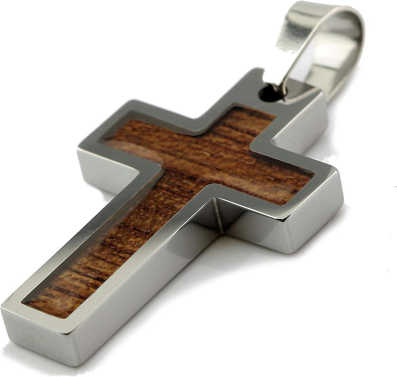 "MJ Metals Jewelry Tungsten Carbide Hawaiian Koa Wood Cross Pendant Necklace 18"" to 20"" SS Wheat Chain"