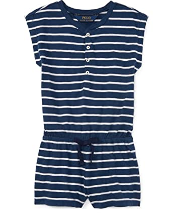 16e32bdfea6c Amazon.com  Ralph Lauren Little Girls Striped Romper