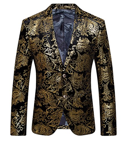 Ouye Men's Golden Single Breasted 2 Button Sport Coat , Golden, US XL - Chest 46