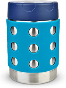 LunchBots Thermal 12 oz Triple Insulated Food Container - Hot 6 Hours or Cold 12 Hours - Leak Proof Thermos Soup Jar - All Stainless Interior - Navy Lid - Aqua Dots