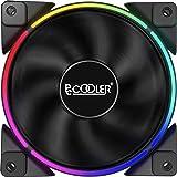 Pccooler 120mm Single Fan Moonlight Series, 3-PIN RGB LED Computer Case Fan - PWM PC Cooling Fan - Dual Light Loop Quiet Fan/
