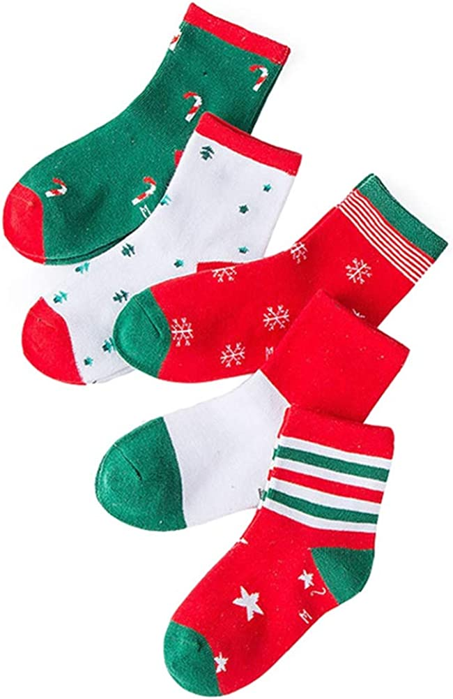 Dejian 5 Pairs Unisex Baby Kids Christmas Printing Assorted Non Skid Anti Slip Socks For Children 3-12 Year Old