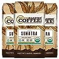 Fair Trade Organic Sumatra Coffee, 12-Ounce Bags (Pack of 3) , Ground Coffee, Fresh Roasted Coffee LLC.