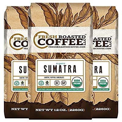 Fair Trade Organic Sumatra Coffee, 12-Ounce Bags (Pack of 3) , Ground Coffee, Fresh Roasted Coffee LLC.