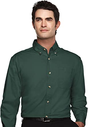 Tri-Mountain Mens Peak Performers Big and Tall Woven Shirt Forest Green
