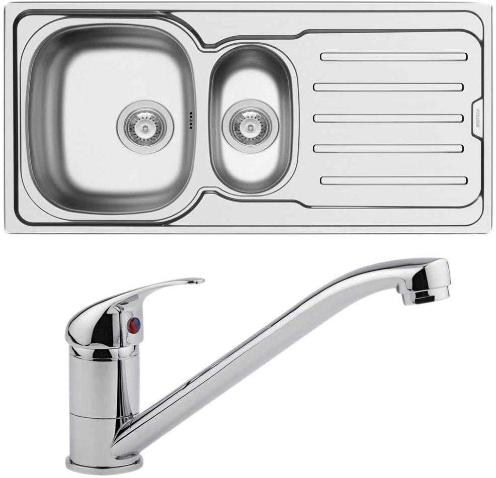 Reversible Stainless Steel Kitchen Sink 1.5 Bowl with Kitchen Mixer Tap | Includes Clips