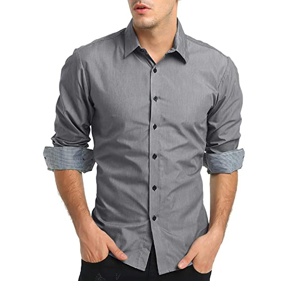 Bestow Camisa de Vestir de Manga Larga Formal s¨Lido Casual de Oto?o