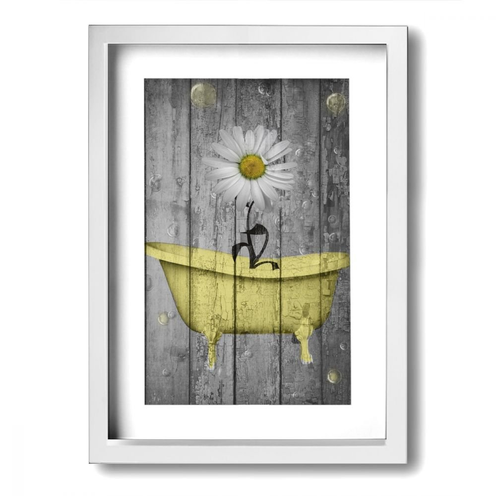 Ale-art Rustic Picture Frame Bathroom Wall Art Daisy Flower Bubbles Yellow Gray Vintage Rustic Bath Wall Art Ready to Hang for Wall Decor