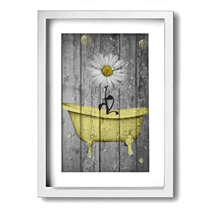 Amazon Com Ale Art Rustic Picture Frame Bathroom Wall Art Daisy