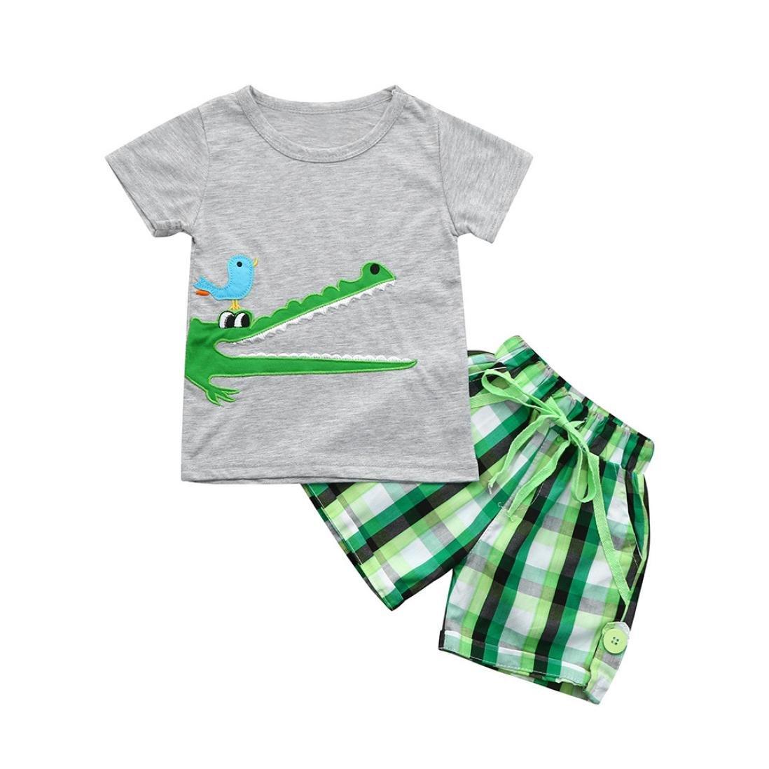 Jimmackey 2Pcs Bambino Ragazzo T-Shirt Fumetto Ricamo Applique Camicia Cime + Plaid Pantaloncini Abiti Set