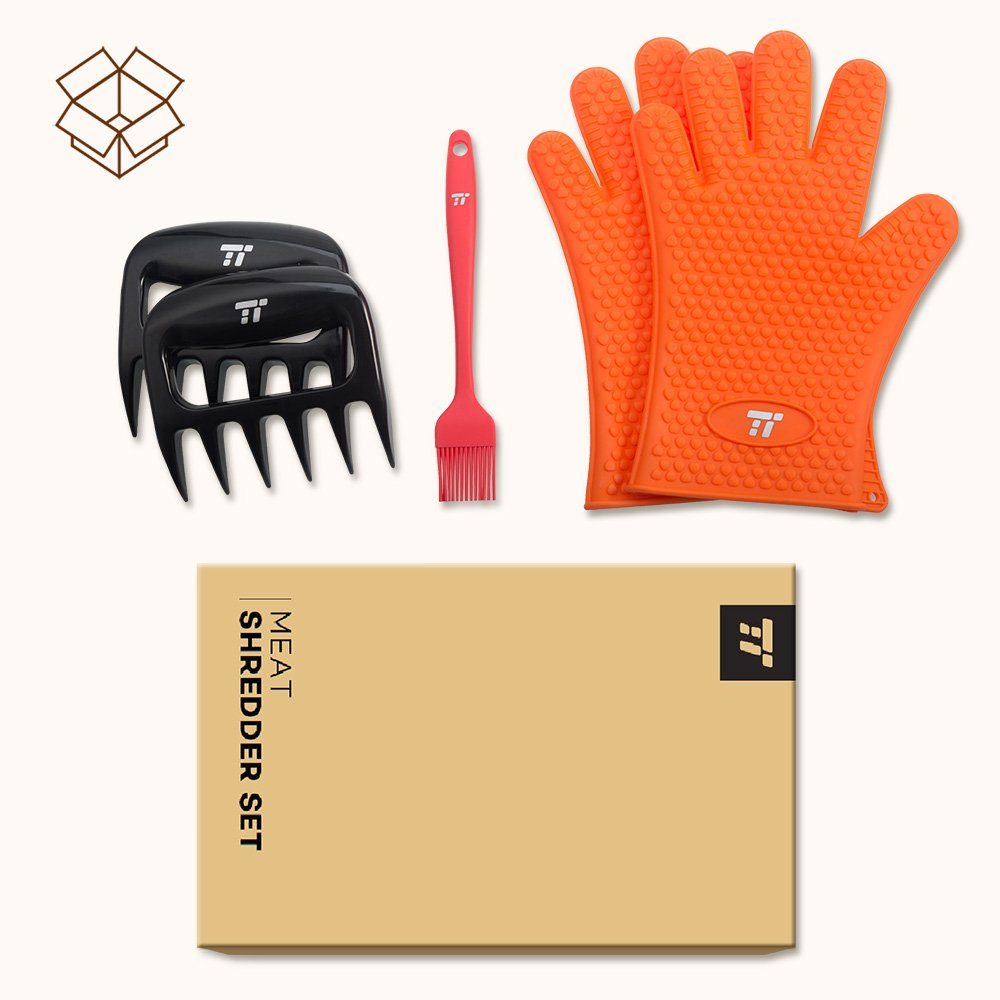 BBQ Gloves Heat Resistant, TaoTronics Meat Shredder Silicone and BBQ Brush, Grill Accessories, Perfect for Shredding Smoked Meat & Pulled Pork, Dishwasher Safe, FDA Approved by TaoTronics (Image #9)