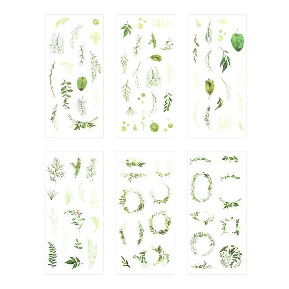 Hacoly 6 fogli foglia adesivo scrapbook stickers diario della carta della decorazione planner sticker Diario, appunti di viaggio, cartoline Decorazione per Bambino o studente DIY