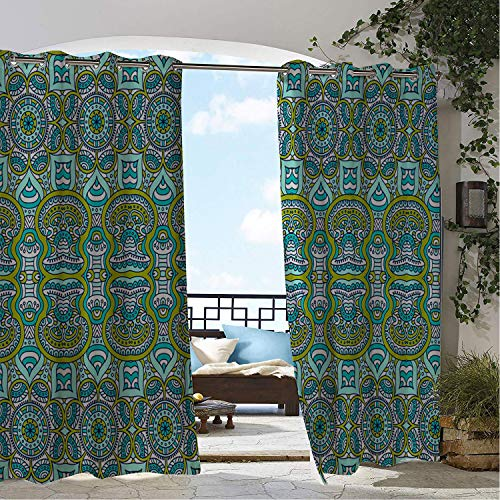- Linhomedecor Balcony Waterproof Curtains Mysterious Palace Pattern Porch Grommet Privacy Curtains 108 by 84 inch