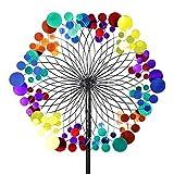 Exhart Yard Pinwheel Decorations– Metallic Rainbow Pattern Wind Spinner – Garden Windmill w/ 2 Spinner Wheels, Weather Resistant Kinetic Art for Incredible Garden Décor (24'' L x 11'' W x 83'' H)