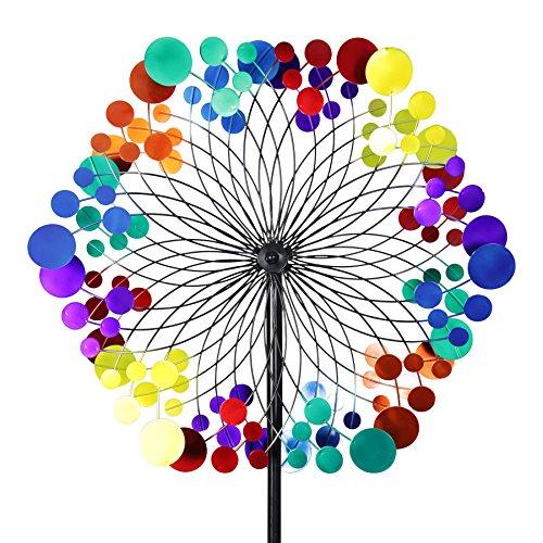 Exhart Yard Pinwheel Decorations- Metallic Rainbow Pattern Wind Spinner - Garden Windmill w/ 2 Spinner Wheels, Weather Resistant Kinetic Art for Incredible Garden Décor (24