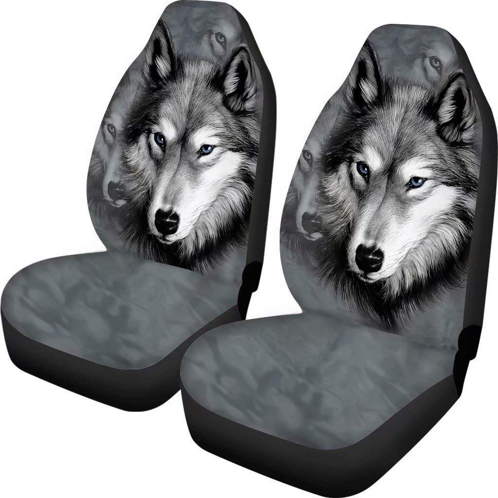 chaqlin Grey Wolf Car Seat Cover Men Women Front Seat Cover Gifts Animal Design Universal Fit for Most Cars Set of 2 Front Full Auto Accessories Protector Case