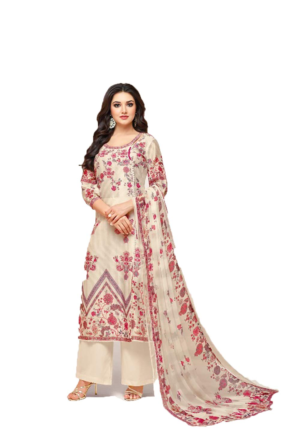 Ready to Wear Variant Colored Camric Cotton Fabric Embroidered Salwar Suit (Pink, Unstitch)