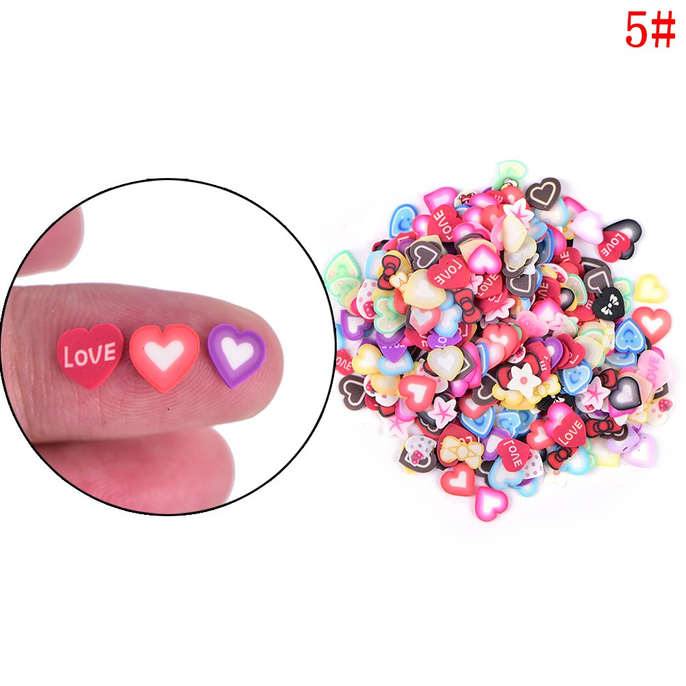 TUANTUAN 2000 Pcs 3D Fimo Nail Art Nail Tips Polymer Clay Slices Decoration Fimo Decal Pieces Accessories, Cake FlowerLeaves