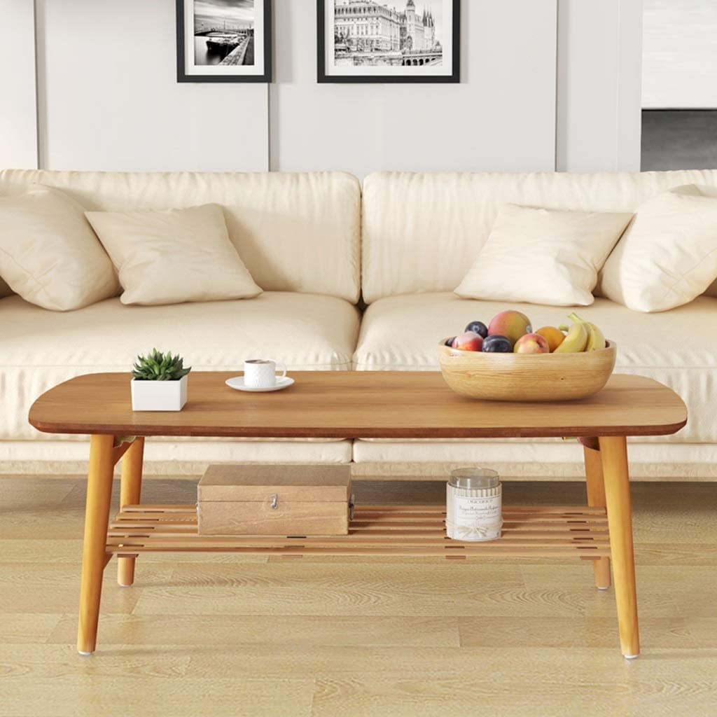 Simple Japanese-Style Coffee Table Modern Fashion Small Apartment Living Room Solid Wood Tea Table Foldable Storage Coffee Table Oval-Shaped Oak Folding Table