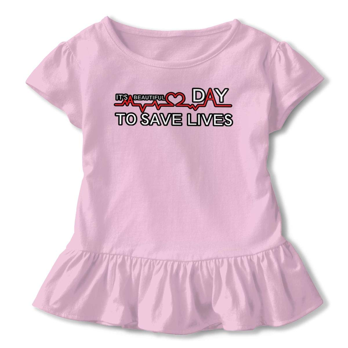 Its A Beautiful Day to Save Lives Toddler Baby Girls Cotton Ruffle Short Sleeve Top Comfortable T-Shirt 2-6T