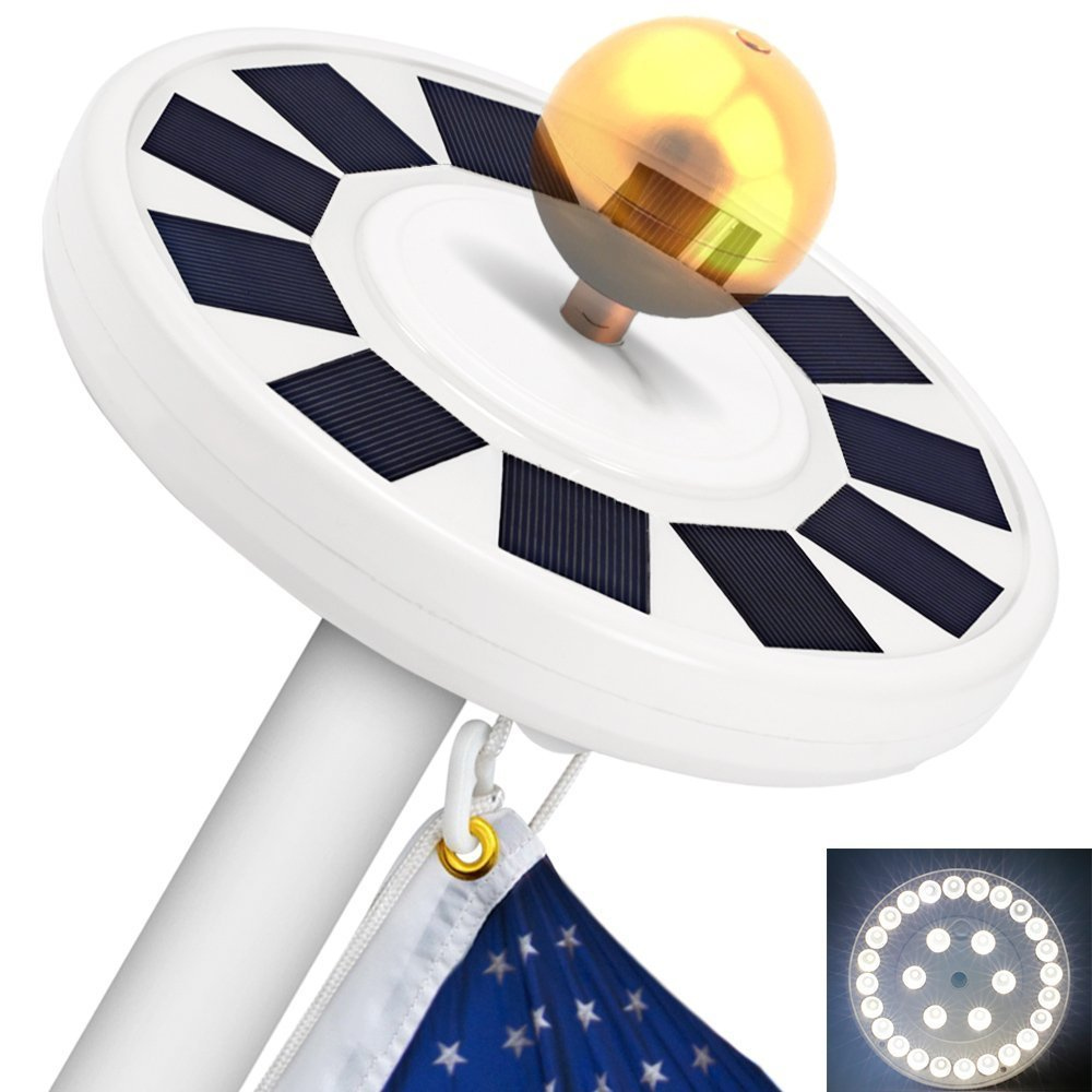 TOTOBAY 30 LED Solar Power Flag Pole Lights, Upgraded Version} Weatherproof Flagpole Downlight for Most 15 to 25 Ft Auto On/Off Night Lighting- Eco-Friendly and Energy-Saving