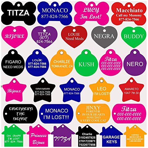 CNATTAGS Pet ID Tags Many Shape, 8 Colors, Personalized Front and Back Premium Aluminum for Dogs and...