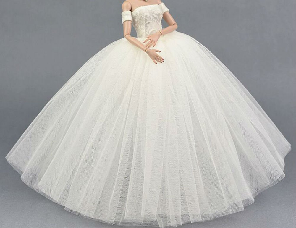Stillshine Mode Magnifique Robe de soirée à la Main pour la poupée Barbie Robes / Robe de mariée en Dentelle /Vêtements (4)