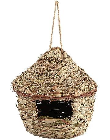 Jaula de nido de paja tejida a mano para pájaros o pájaros en 3 tamaños para